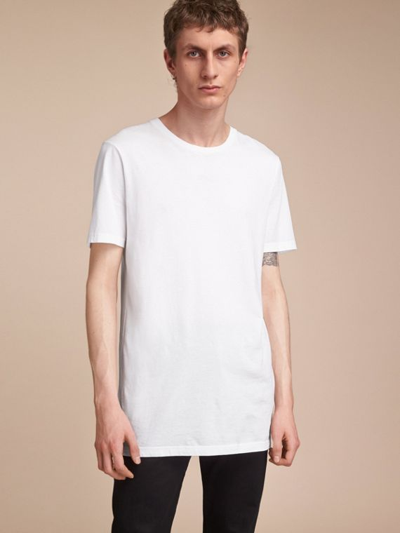 Cotton Jersey Long T-shirt in White