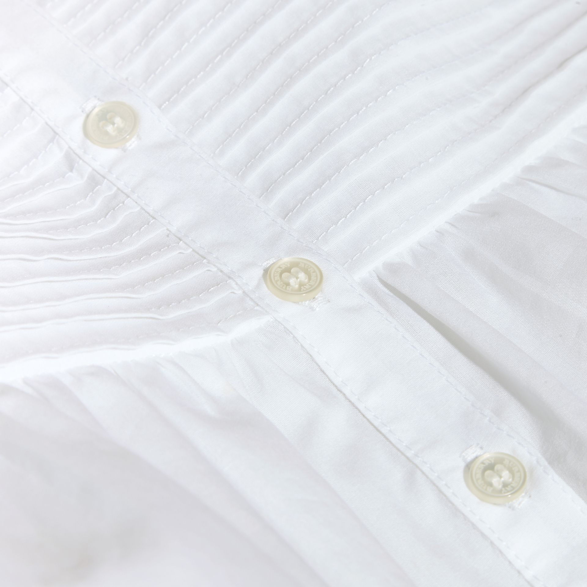 White Pleat and Ruffle Detail Cotton Shirt - gallery image 2