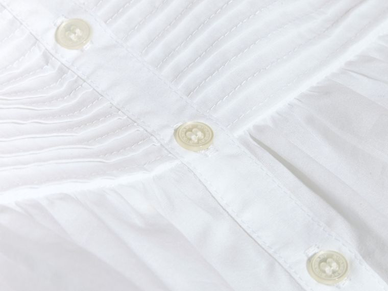 White Pleat and Ruffle Detail Cotton Shirt - cell image 1