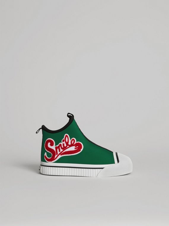 Embroidered Neoprene High-top Sneakers in Bright Pigment Green | Burberry - cell image 3