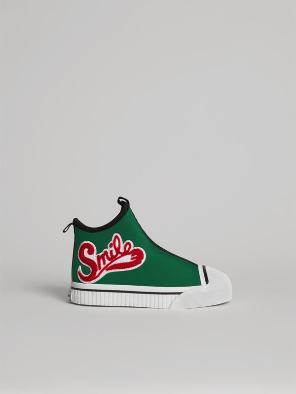 Embroidered Neoprene High-top Sneakers in Bright Pigment Green | Burberry Canada - cell image 3