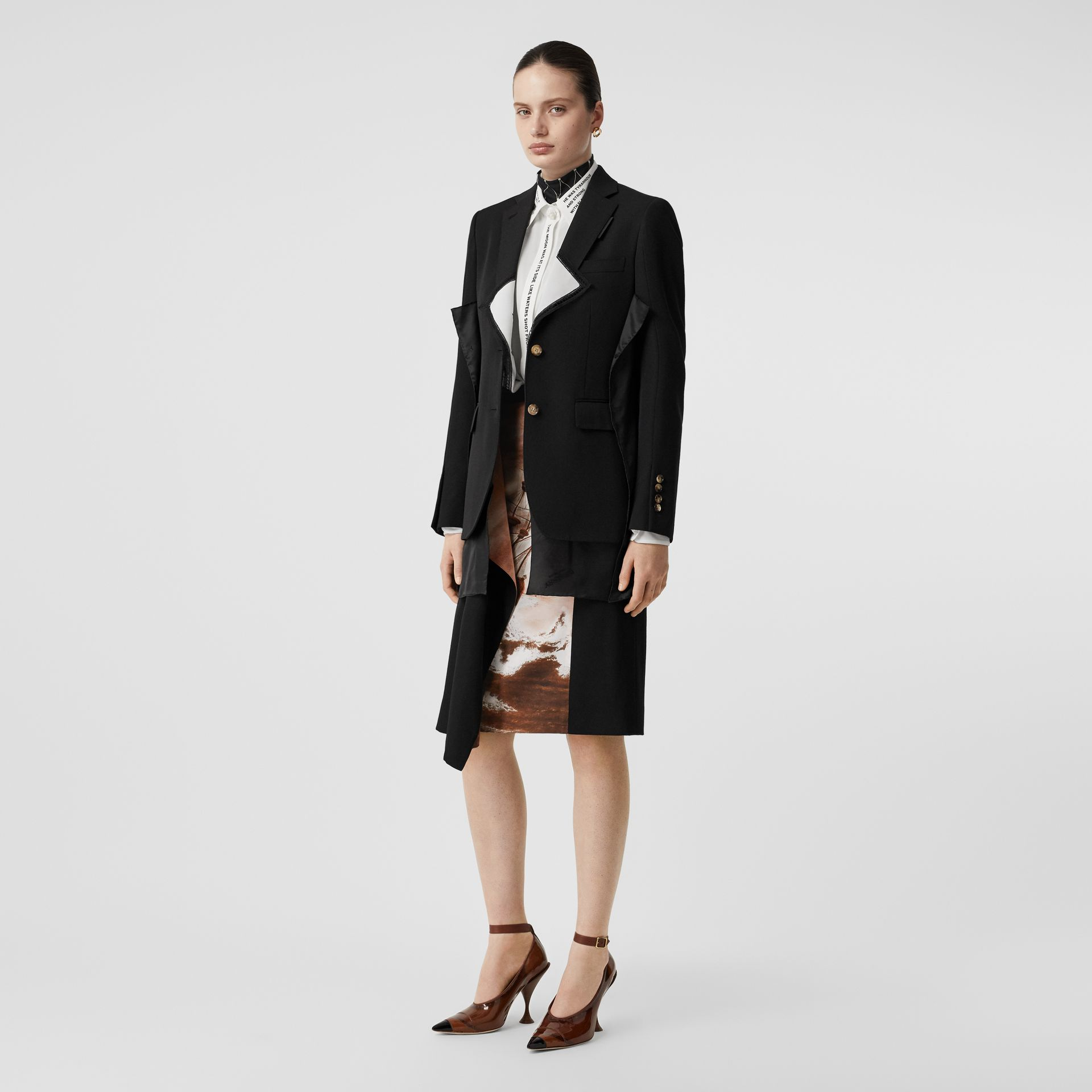 Logo Panel Detail Wool Tailored Jacket in Black - Women | Burberry United States - gallery image 0