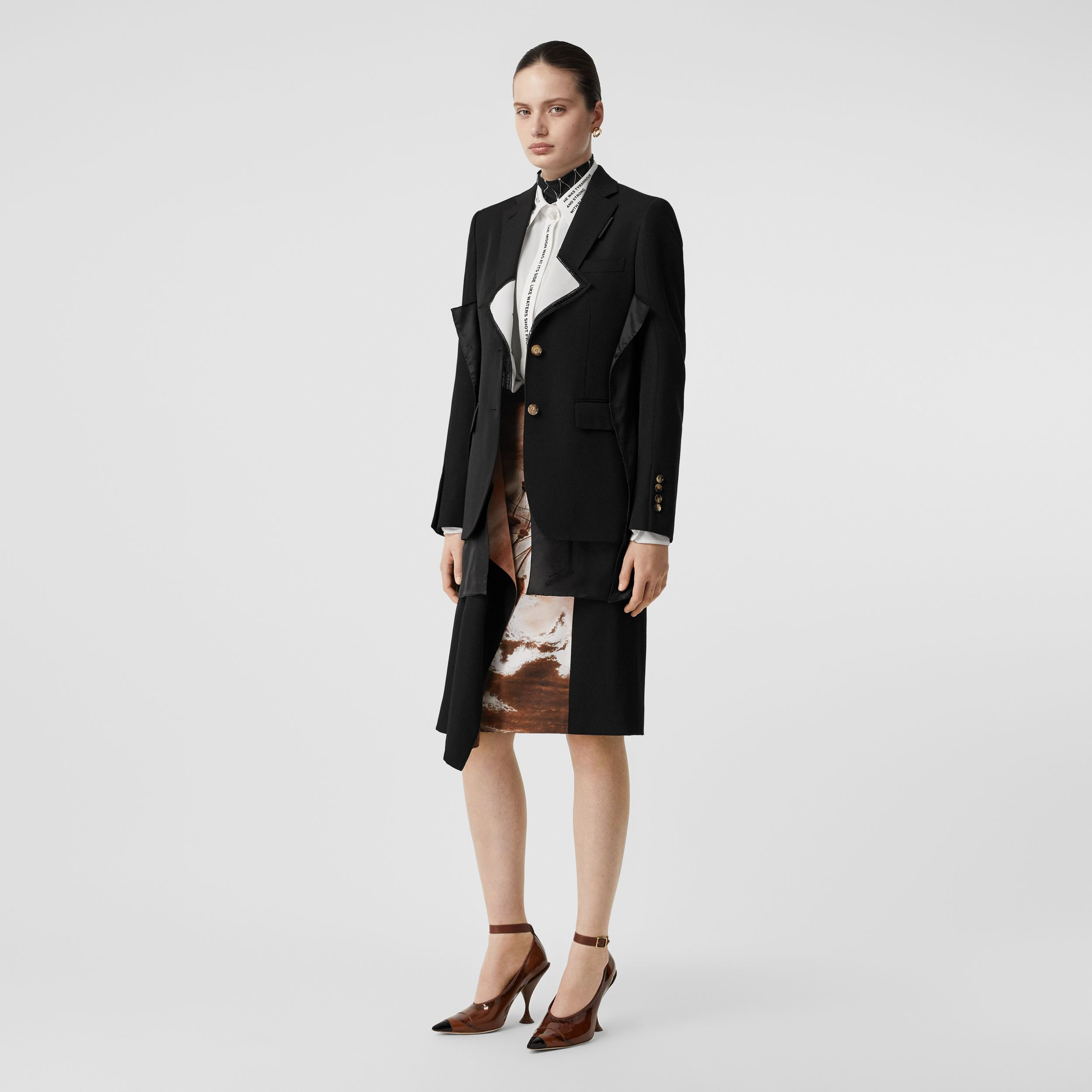 Logo Panel Detail Wool Tailored Jacket in Black - Women | Burberry - 1