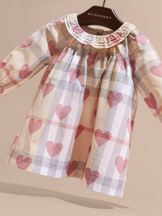 Pale pink Heart and Check Cotton Dress and Bloomers - cell image 2