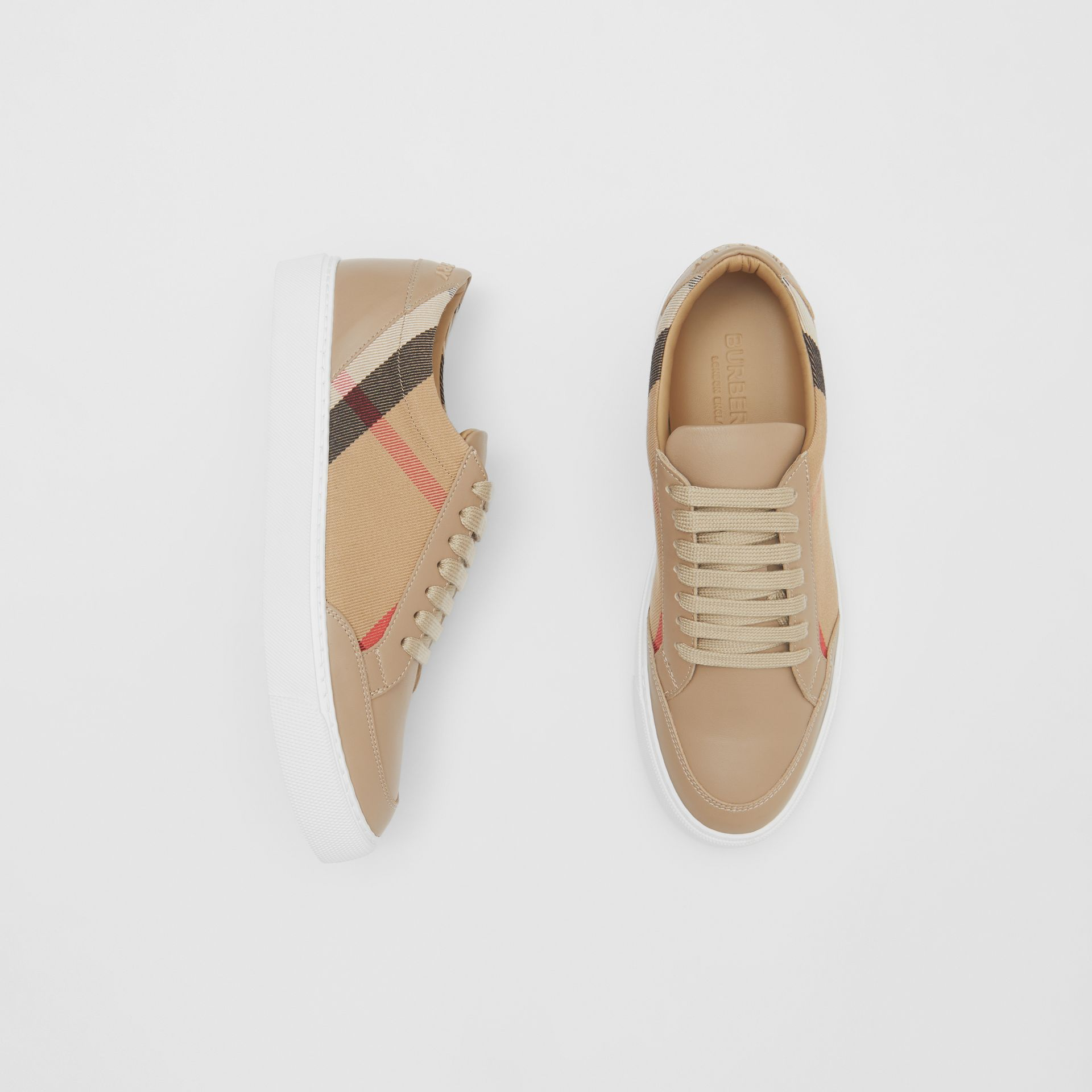 House Check and Leather Sneakers in Tan - Women | Burberry - gallery image 0