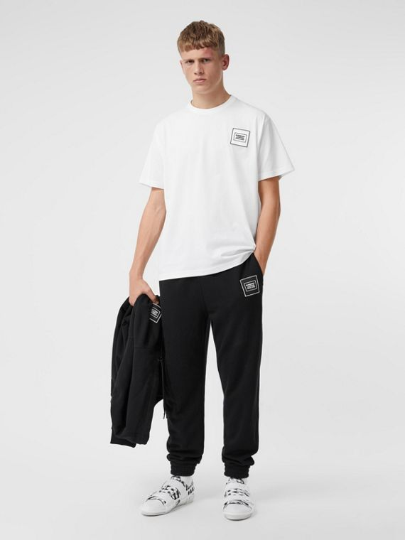Logo Appliqué Cotton Jogging Pants in Black