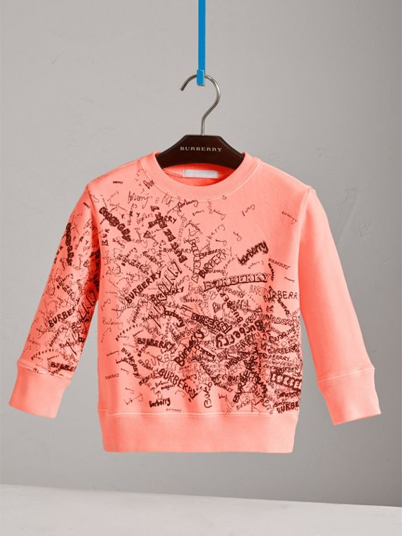 Doodle Print Cotton Sweatshirt in Bright Clementine - Boy | Burberry - cell image 2