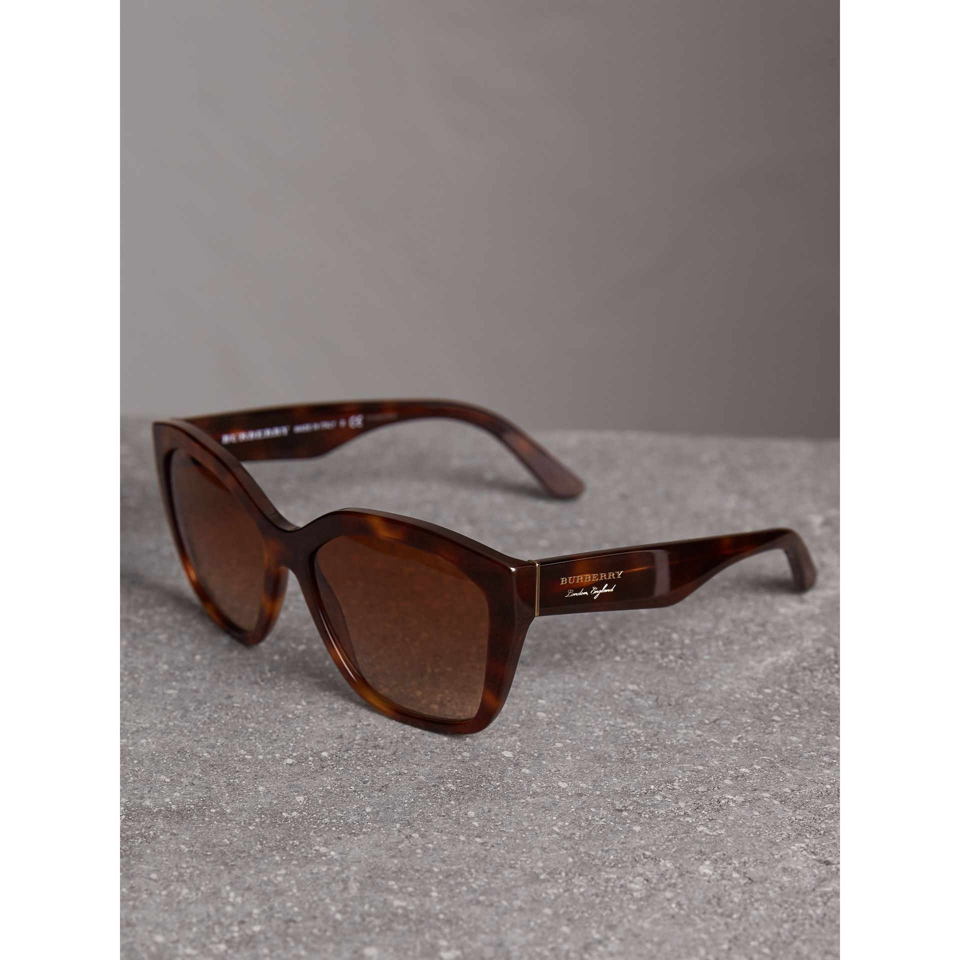Square Frame Sunglasses in Light Brown - Women | Burberry United Kingdom - gallery image 2