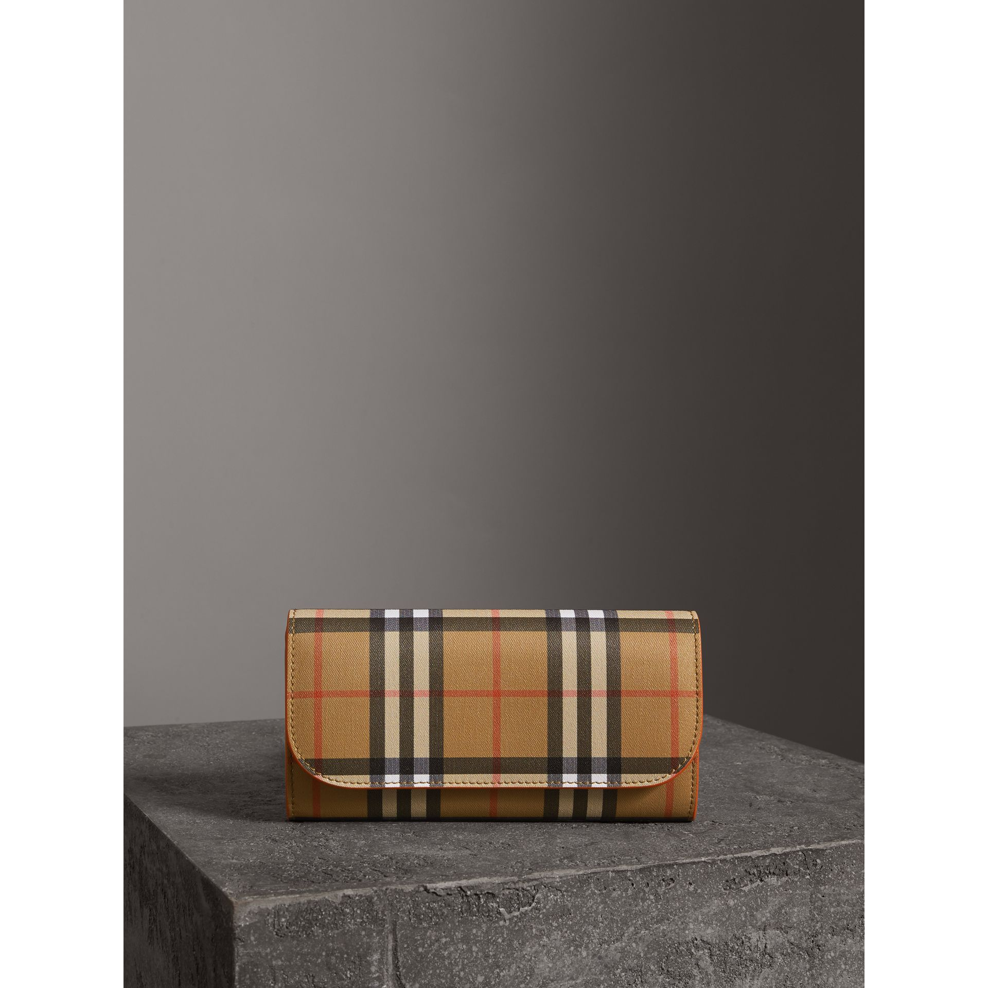 Vintage Check and Leather Continental Wallet in Clementine - Women | Burberry - gallery image 4