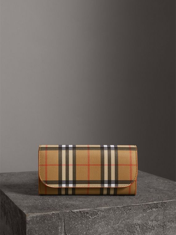 Vintage Check and Leather Continental Wallet in Clementine