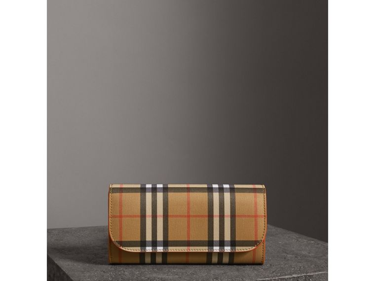 Vintage Check and Leather Continental Wallet in Clementine - Women | Burberry United States - cell image 4