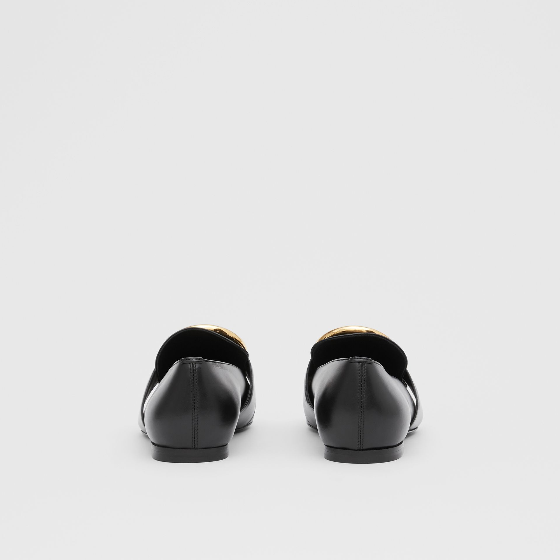 Monogram Motif Leather Loafers in Black - Women | Burberry - gallery image 4