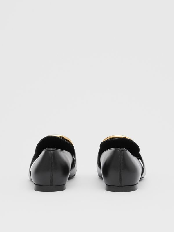 Monogram Motif Leather Loafers in Black - Women | Burberry United Kingdom - cell image 3