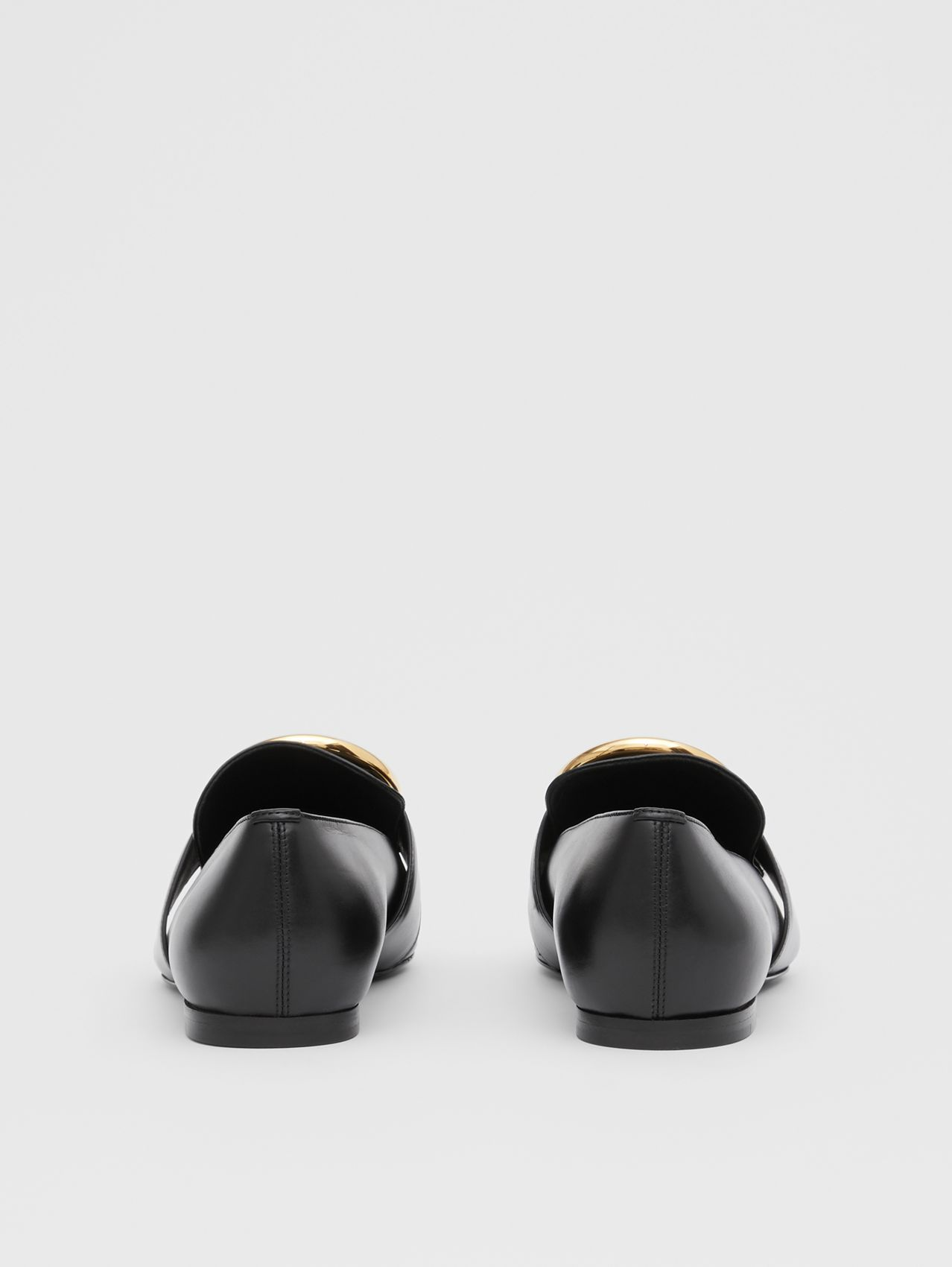 Monogram Motif Leather Loafers in Black