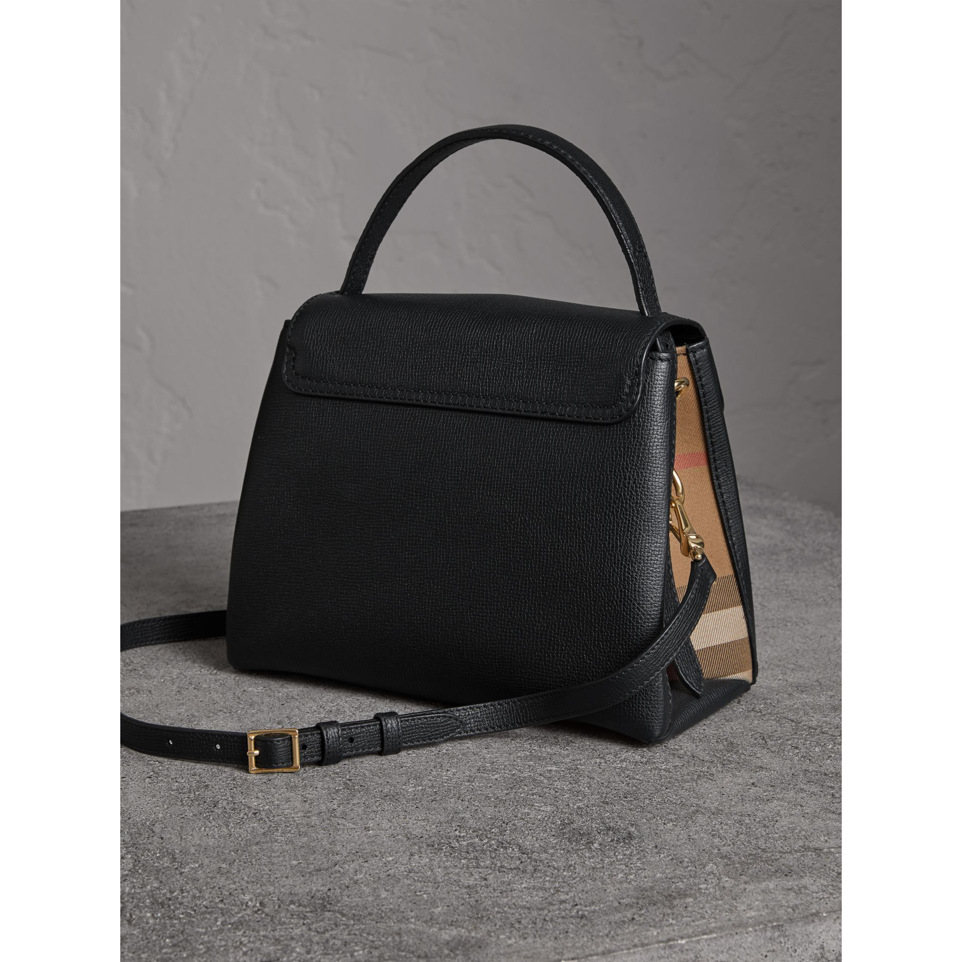 Small Grainy Leather and House Check Tote Bag in Black - Women | Burberry United States - gallery image 4