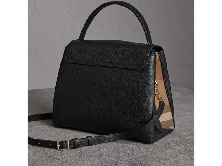 Small Grainy Leather and House Check Tote Bag in Black - Women | Burberry United States - cell image 4