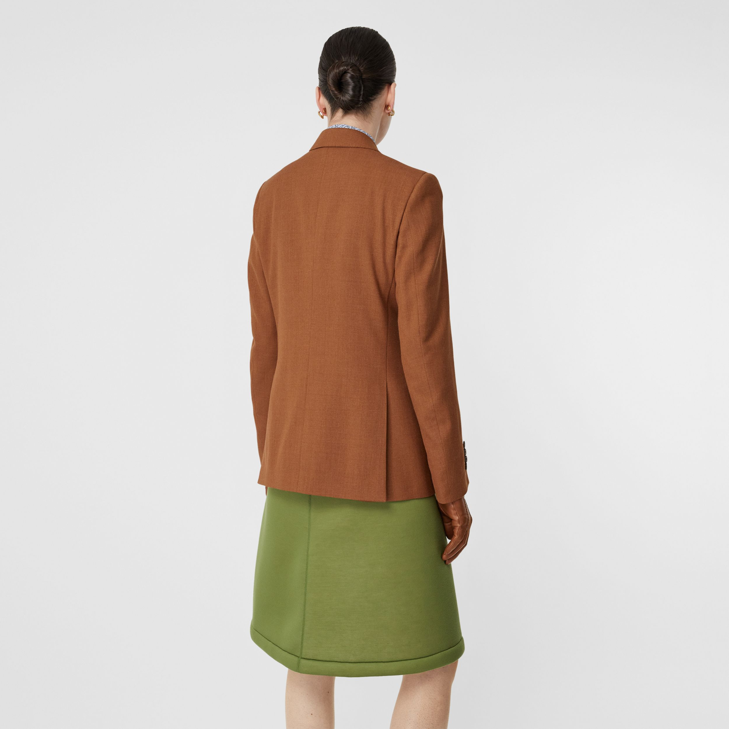 Wool, Silk and Cotton Blazer in Rust - Women | Burberry - 3