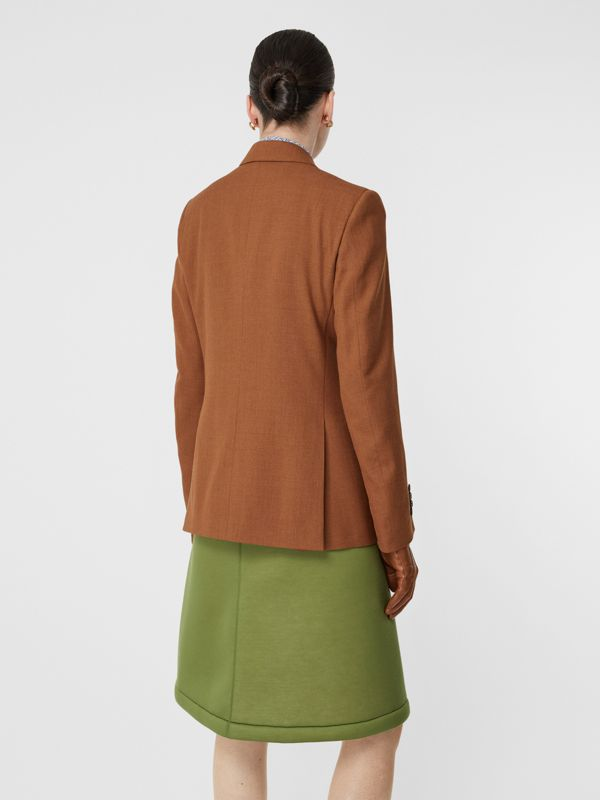 Wool, Silk and Cotton Blazer in Rust - Women | Burberry Hong Kong S.A.R - cell image 2