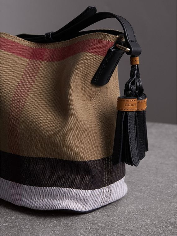 The Ashby piccola con pelle e motivo Canvas check (Nero) - Donna | Burberry - cell image 3