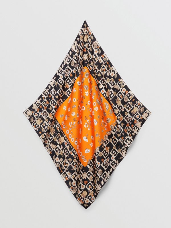 B Motif and Floral Print Silk Square Scarf in Bright Orange | Burberry - cell image 3