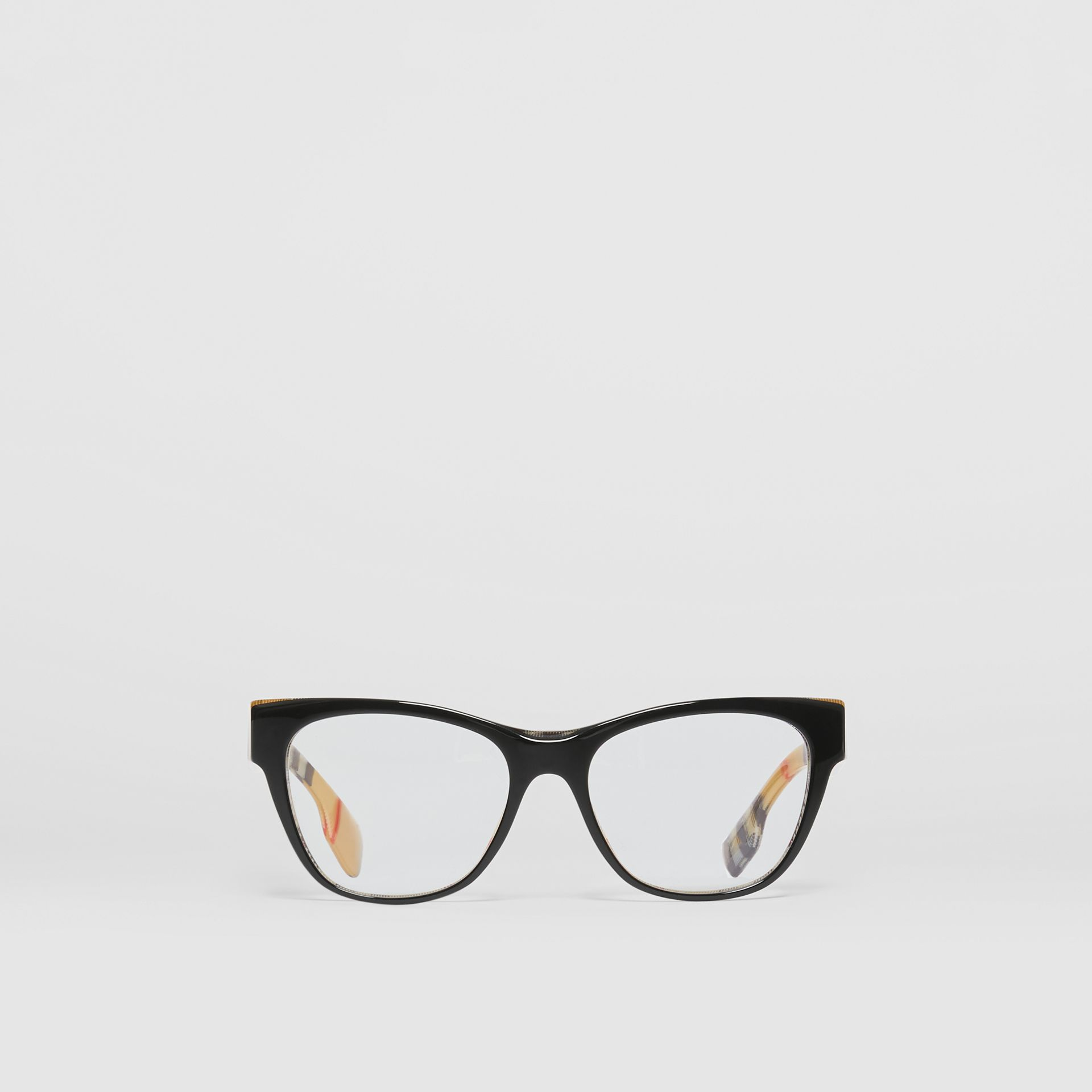 Vintage Check Detail Square Optical Frames in Black/beige - Women | Burberry - gallery image 0