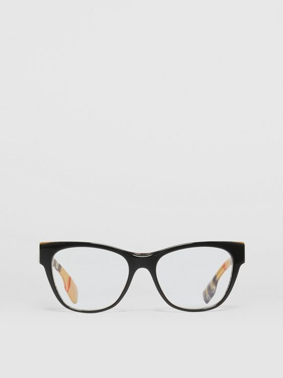 Vintage Check Detail Square Optical Frames in Black/beige