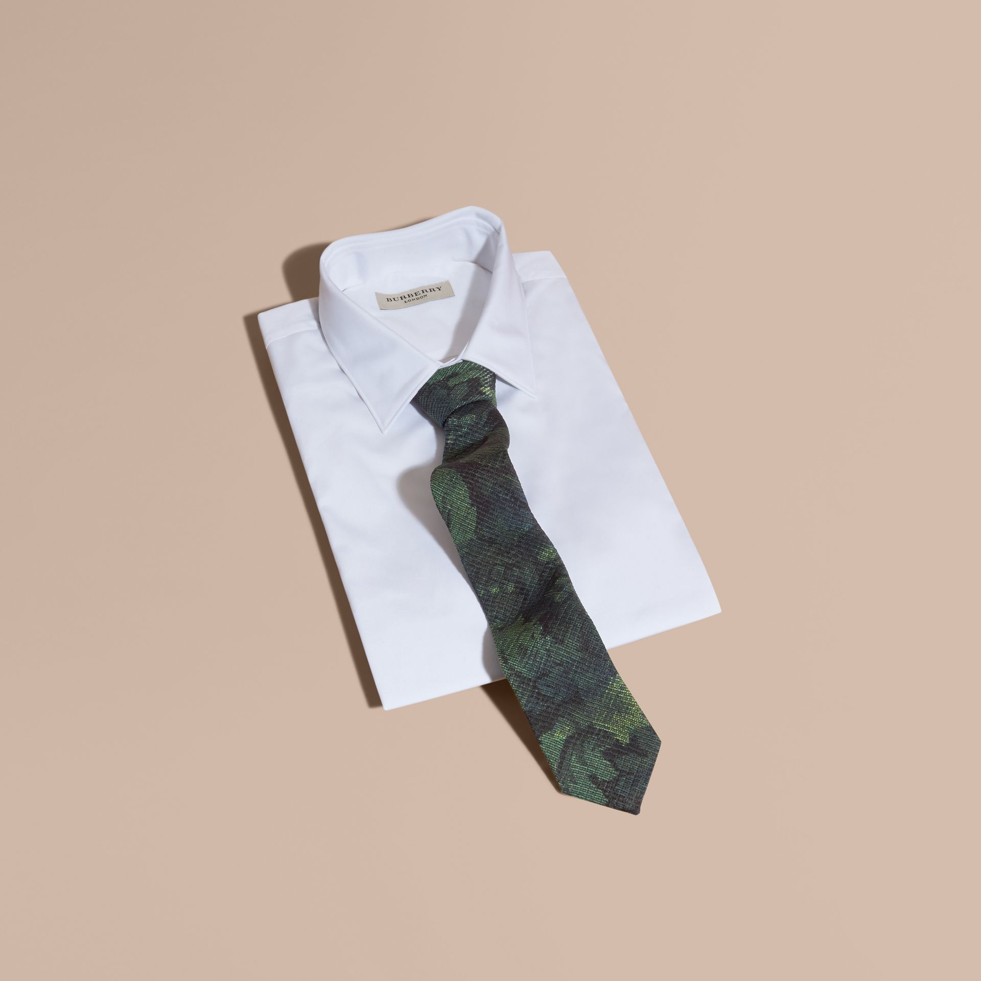 Modern Cut Tapestry Print Tie Racing Green - gallery image 4