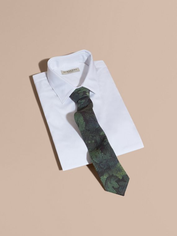 Modern Cut Tapestry Print Tie Racing Green - cell image 3