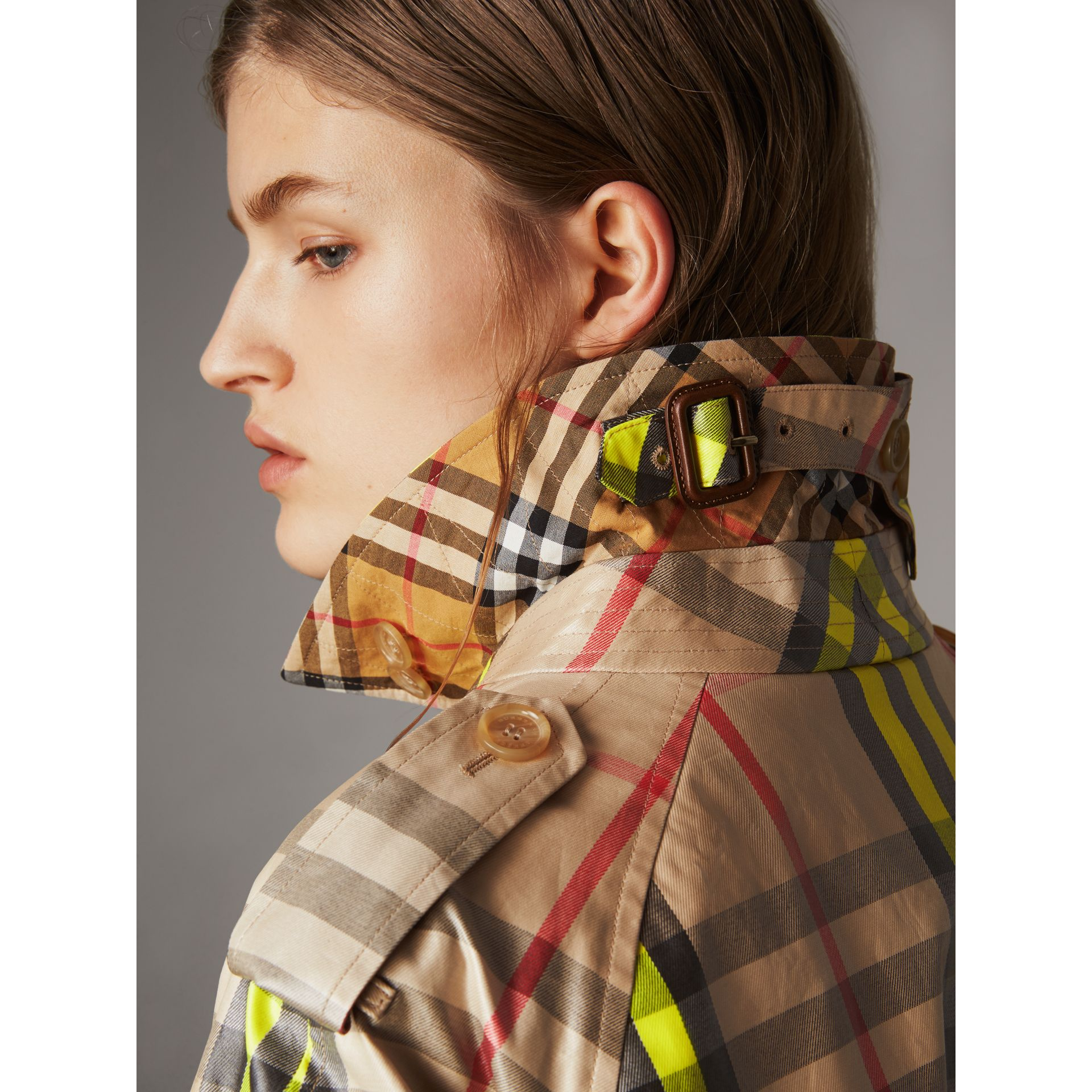 Laminated Check Trench Coat – Online Exclusive in Fluorescent Yellow - Women | Burberry United Kingdom - gallery image 1