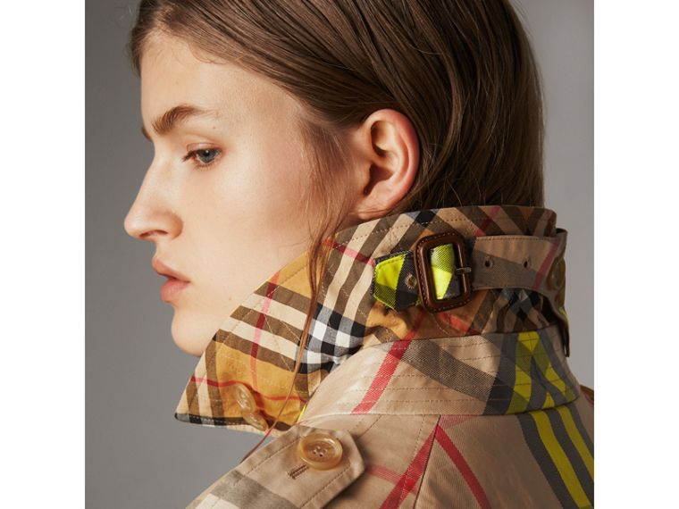 Laminated Check Trench Coat – Online Exclusive in Fluorescent Yellow - Women | Burberry United Kingdom - cell image 1