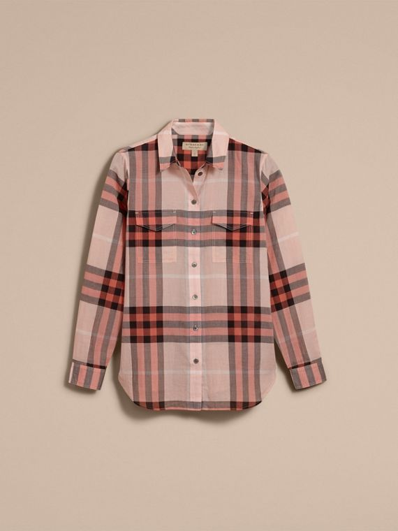 Check Cotton Shirt Apricot - cell image 3