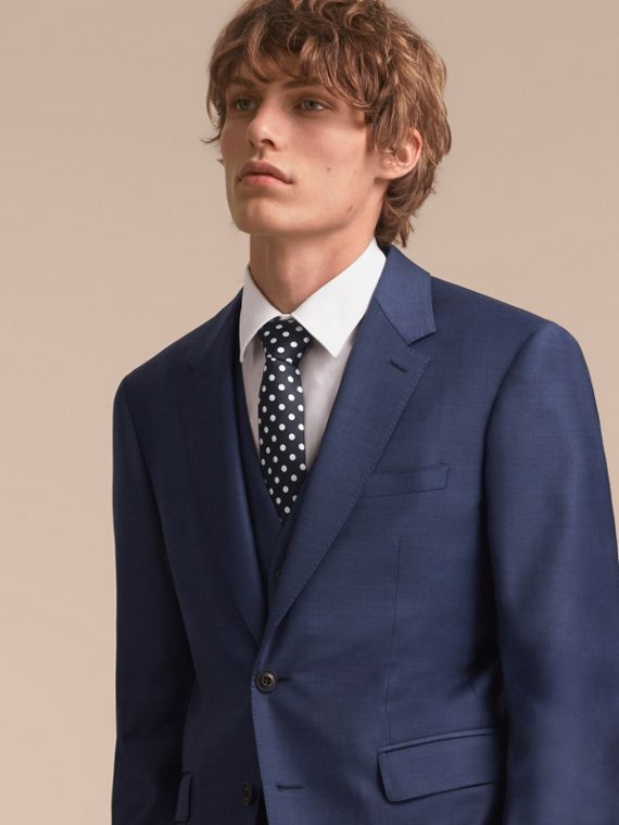 Modern Cut Polka-dot Silk Jacquard Tie in Dark Navy - Men | Burberry United Kingdom - cell image 2