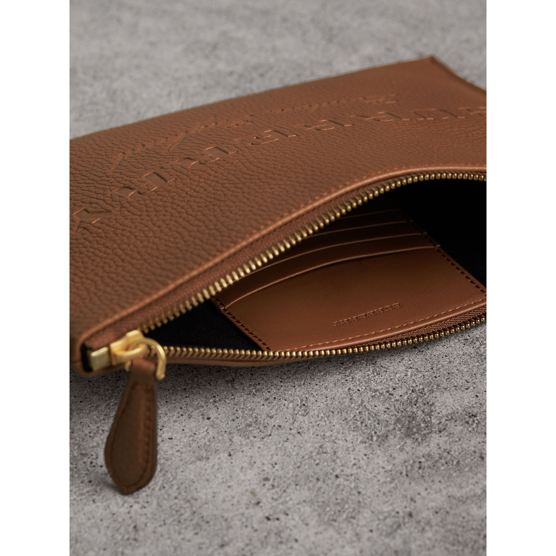 Embossed Leather Clutch Bag in Chestnut Brown - Women | Burberry Singapore - gallery image 5