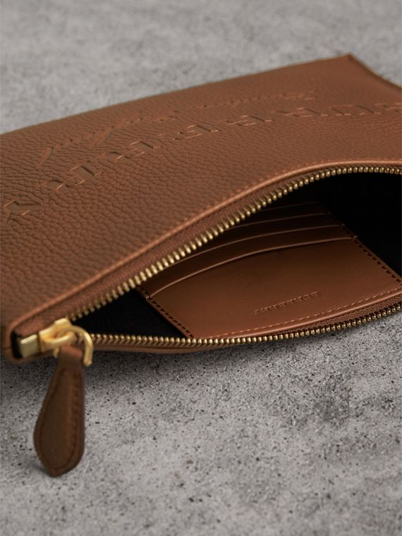 Embossed Leather Clutch Bag in Chestnut Brown - Women | Burberry - cell image 3
