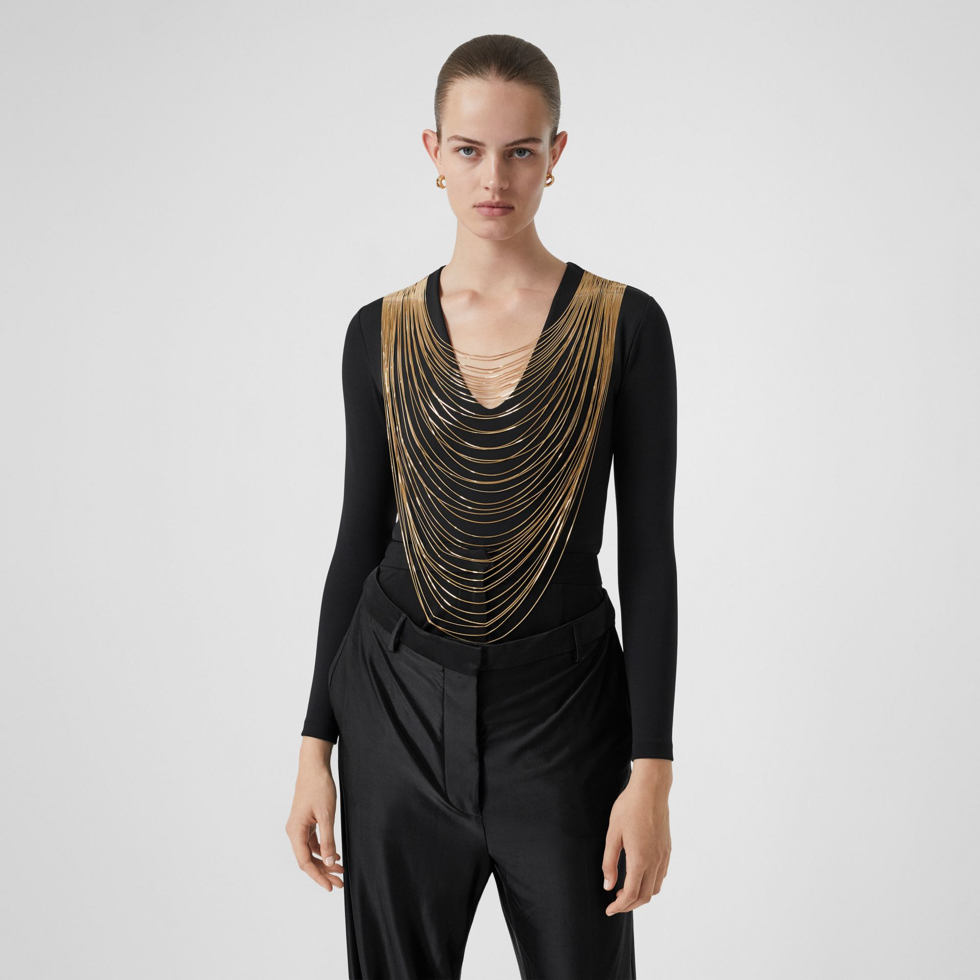 Chain Detail Stretch Jersey Bodysuit in Black - Women | Burberry - gallery image 0