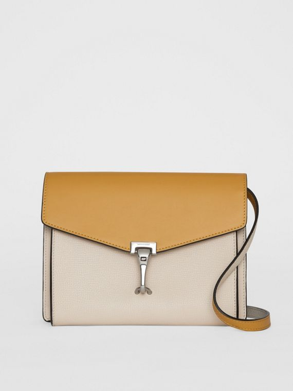 Two-tone Leather Crossbody Bag in Limestone/cornflower Yellow