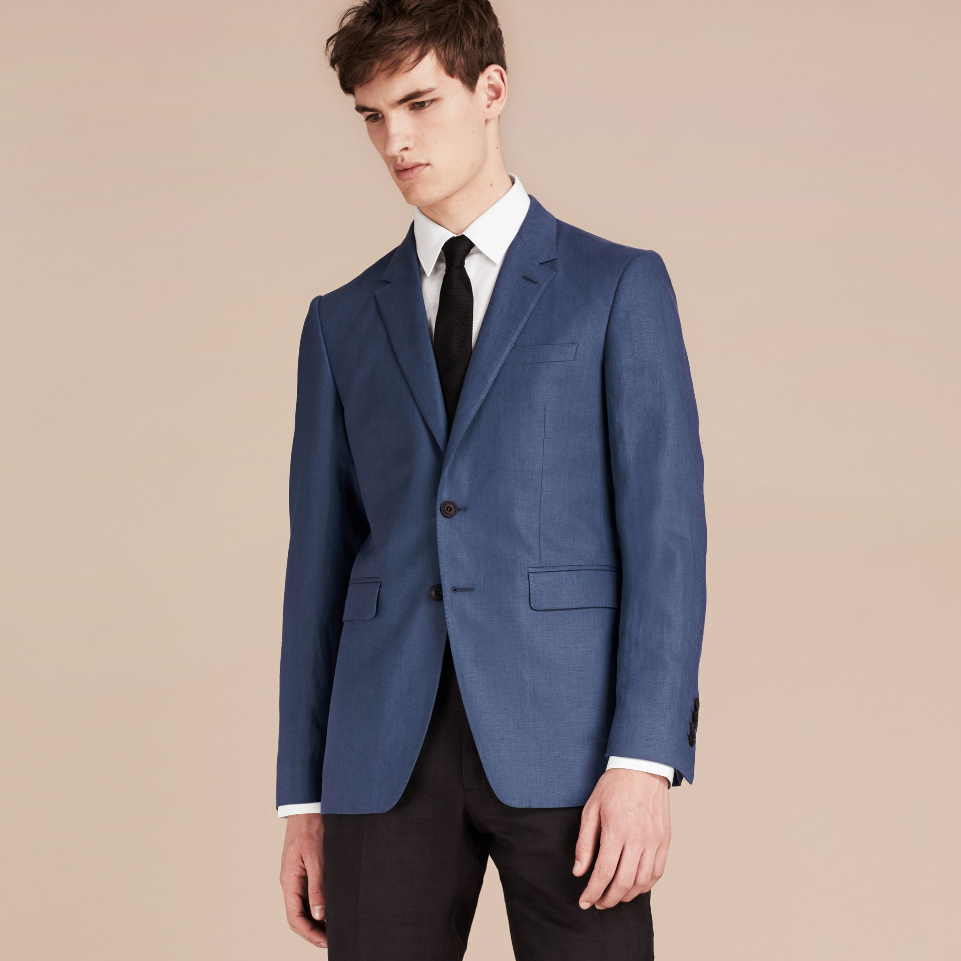 Bright steel blue Modern Fit Linen Tailored Jacket - gallery image 2