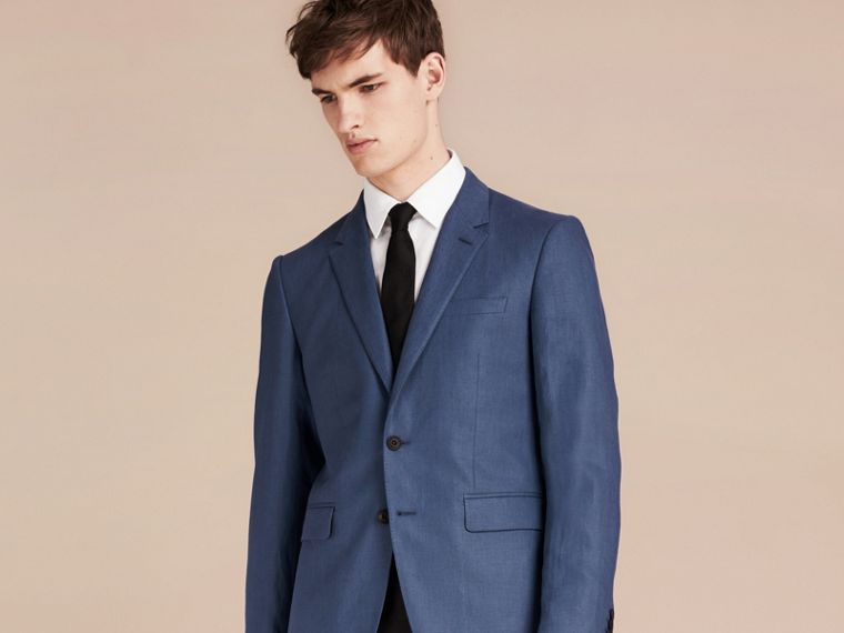 Bright steel blue Modern Fit Linen Tailored Jacket - cell image 1