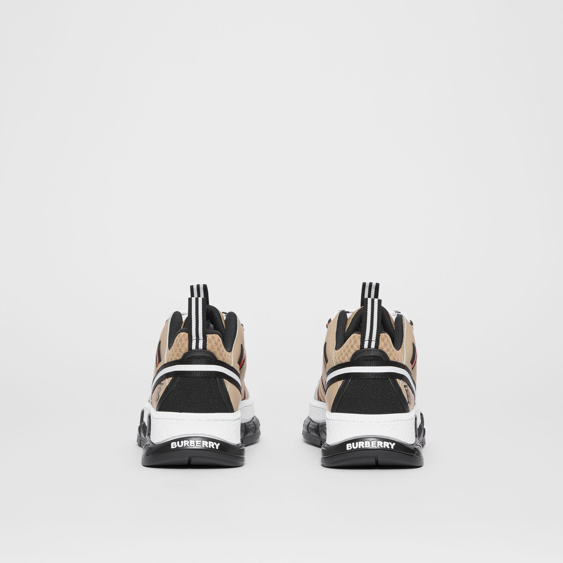 Monogram Motif Mesh and Leather Sneakers in Beige - Women | Burberry - gallery image 3