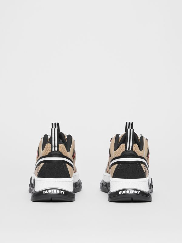 Monogram Motif Mesh and Leather Sneakers in Beige - Women | Burberry - cell image 3