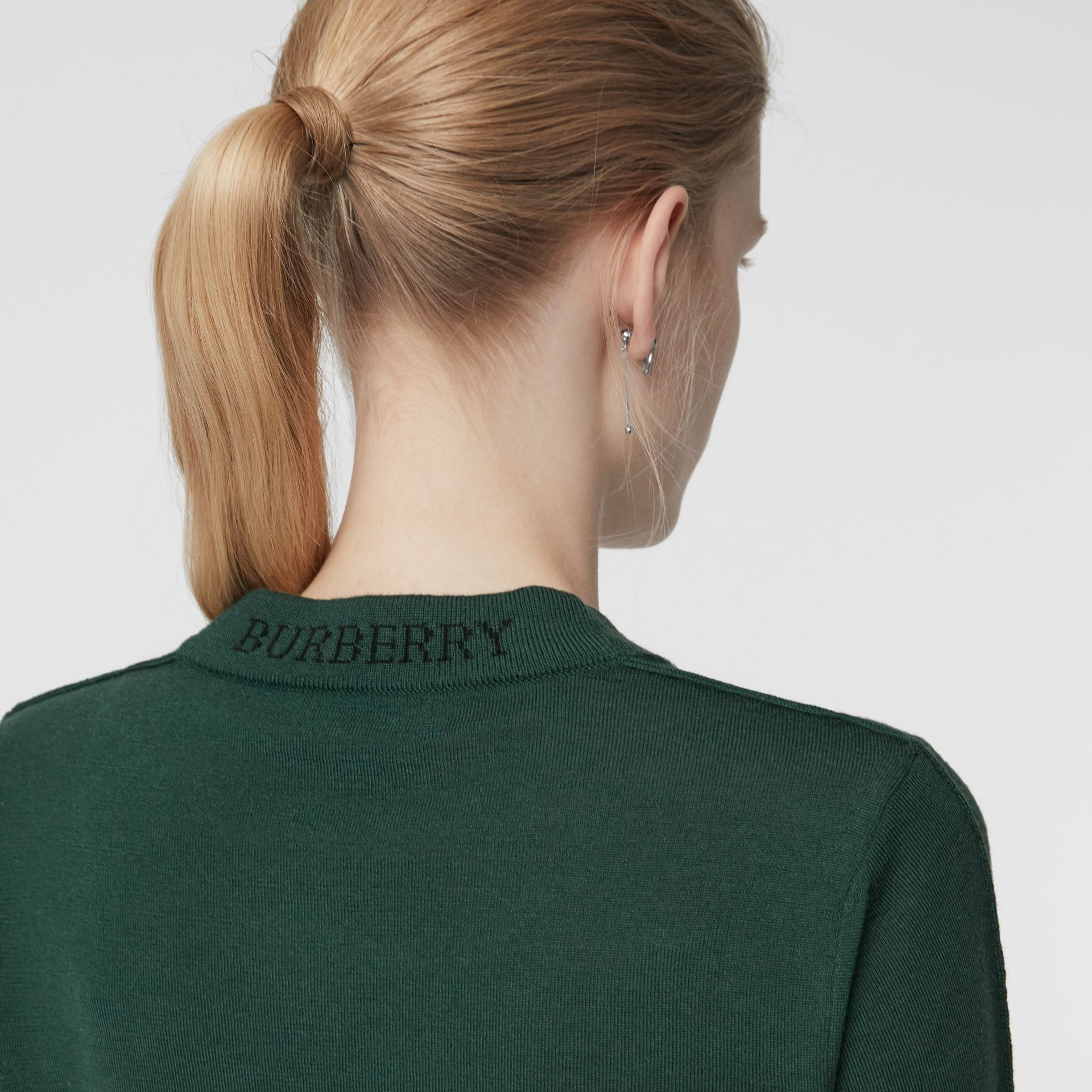 Merino Wool Crew Neck Sweater in Dark Forest Green - Women | Burberry Australia - gallery image 1