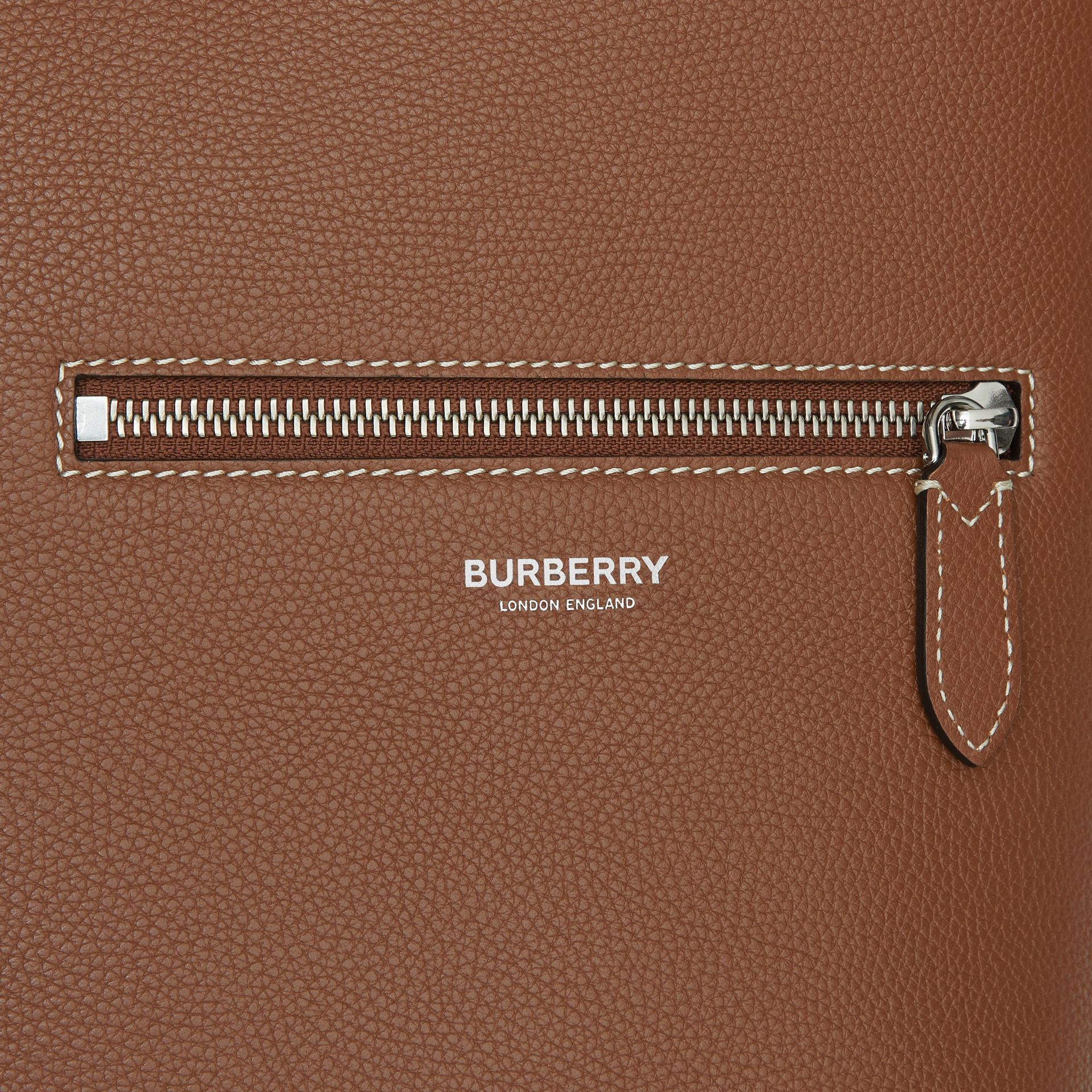 Grainy Leather Tote in Tan | Burberry - gallery image 1