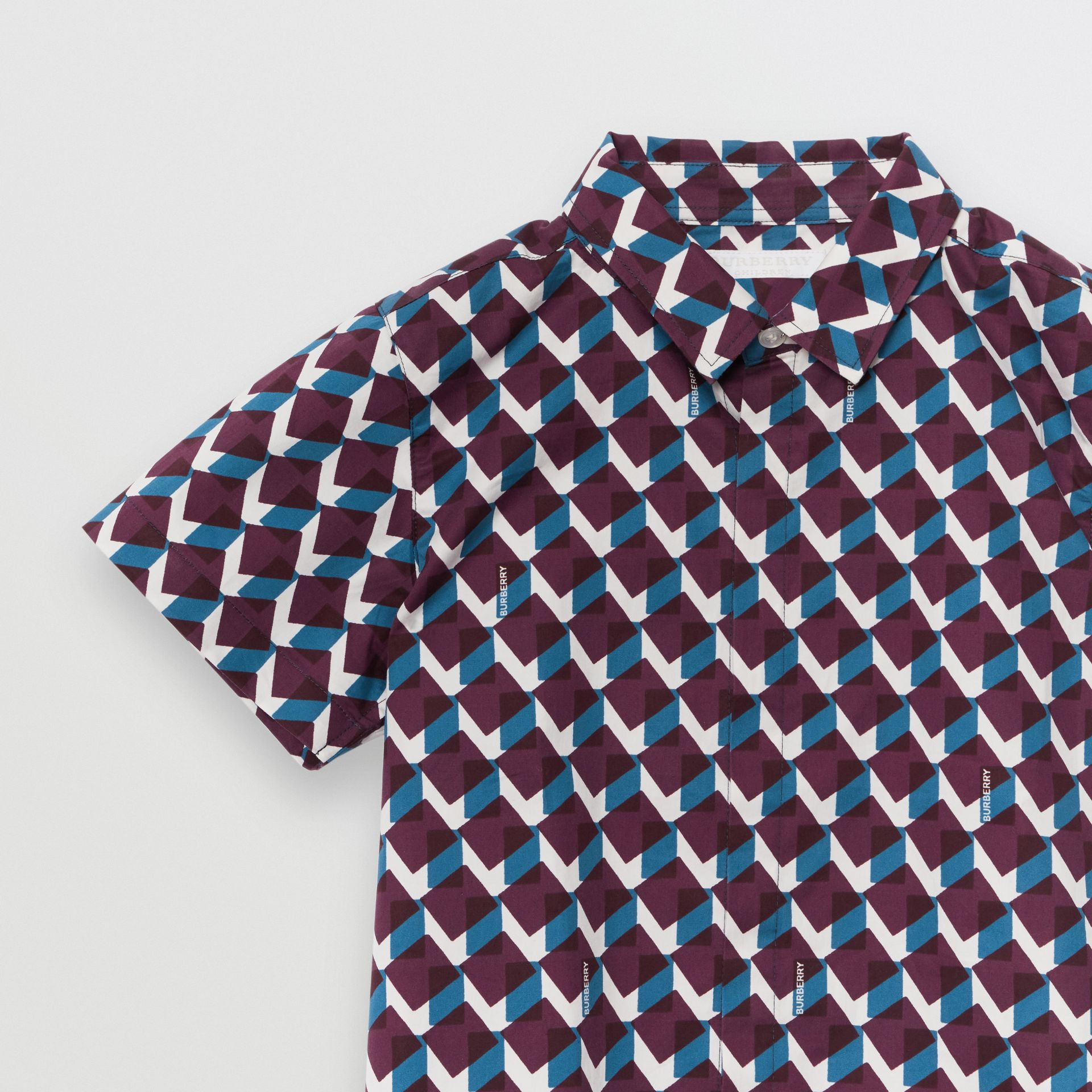 Short-sleeve Geometric Print Cotton Shirt in Mineral Blue | Burberry - gallery image 4