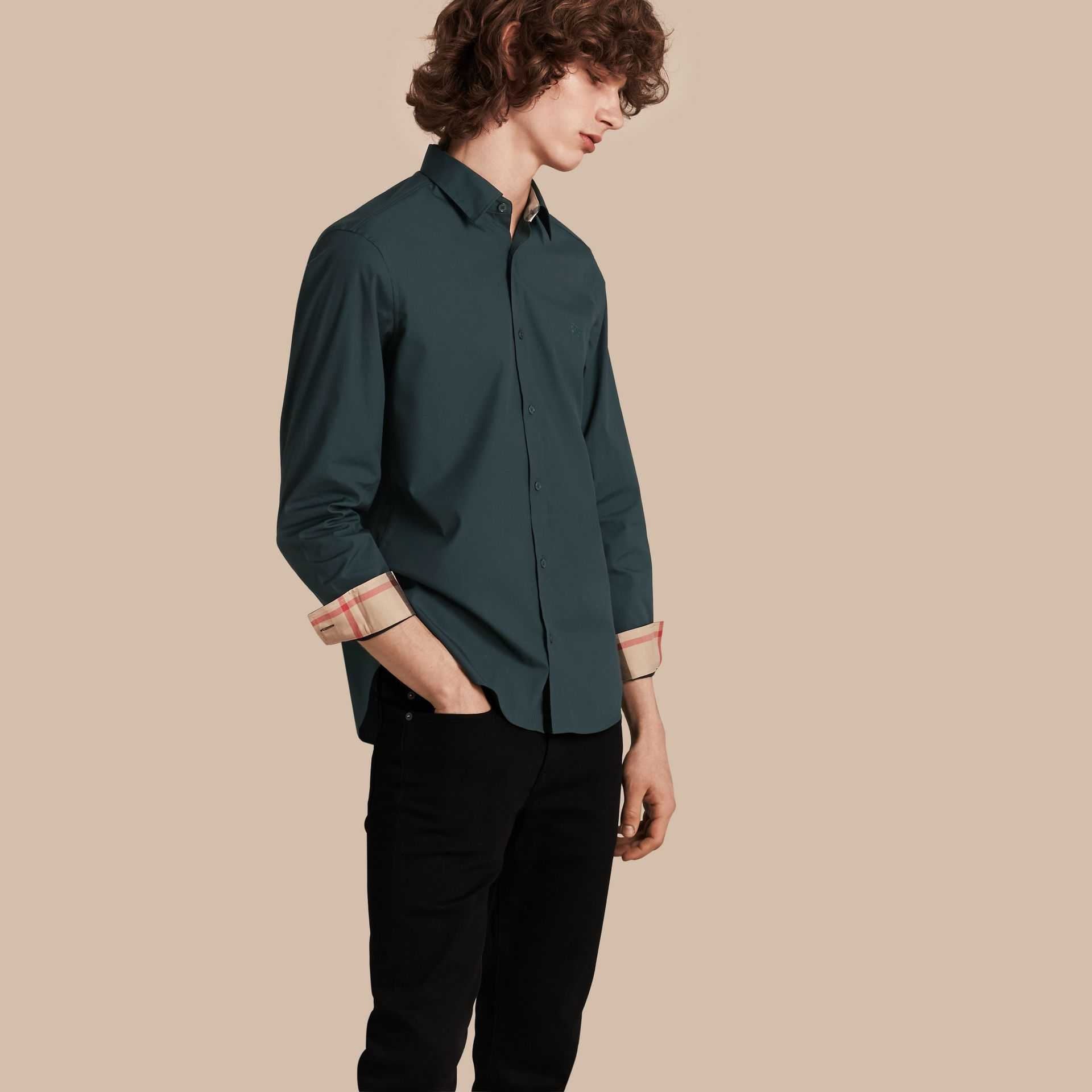 Check Detail Stretch Cotton Poplin Shirt in Dark Teal Green - gallery image 1