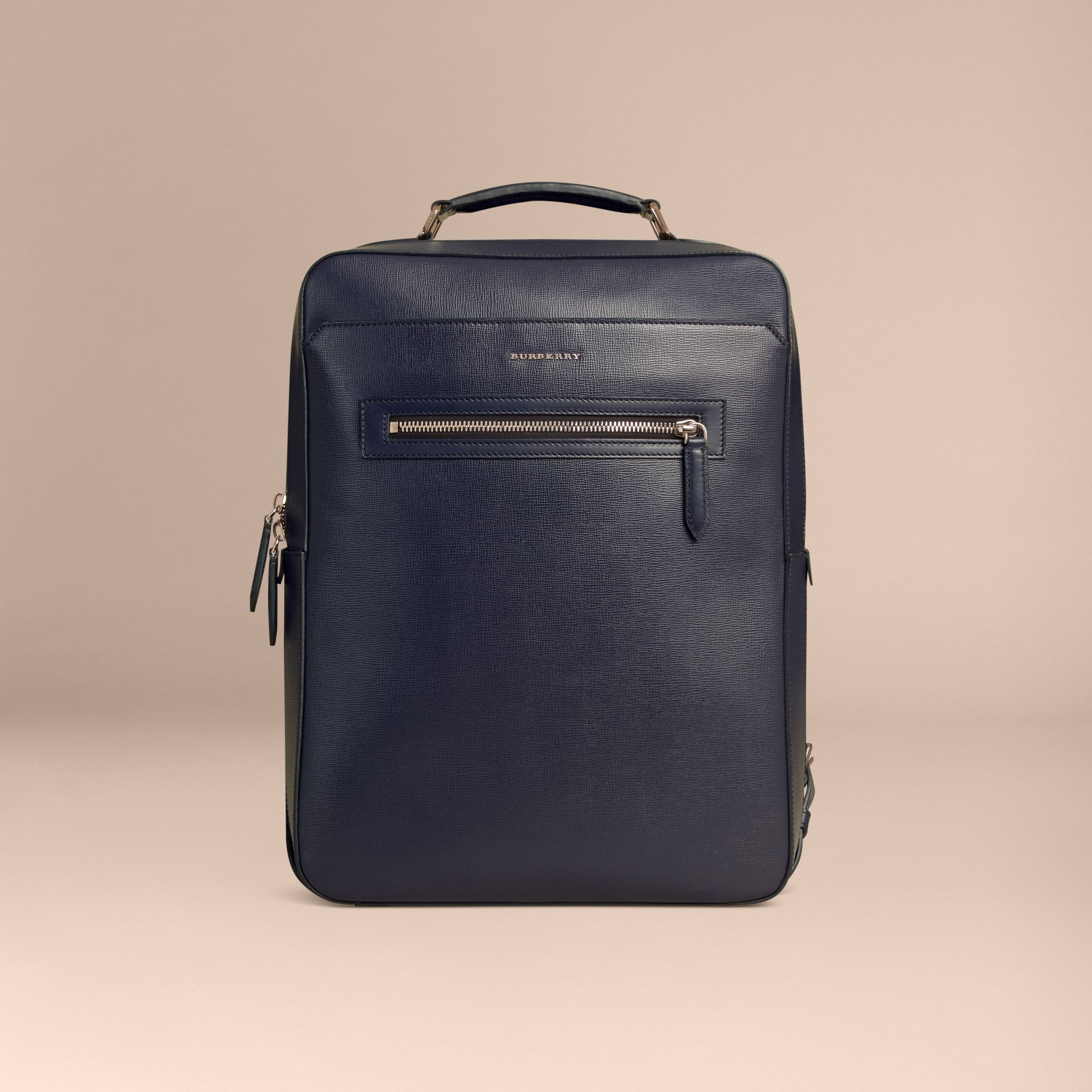 Dark navy London Leather Backpack Dark Navy - gallery image 7