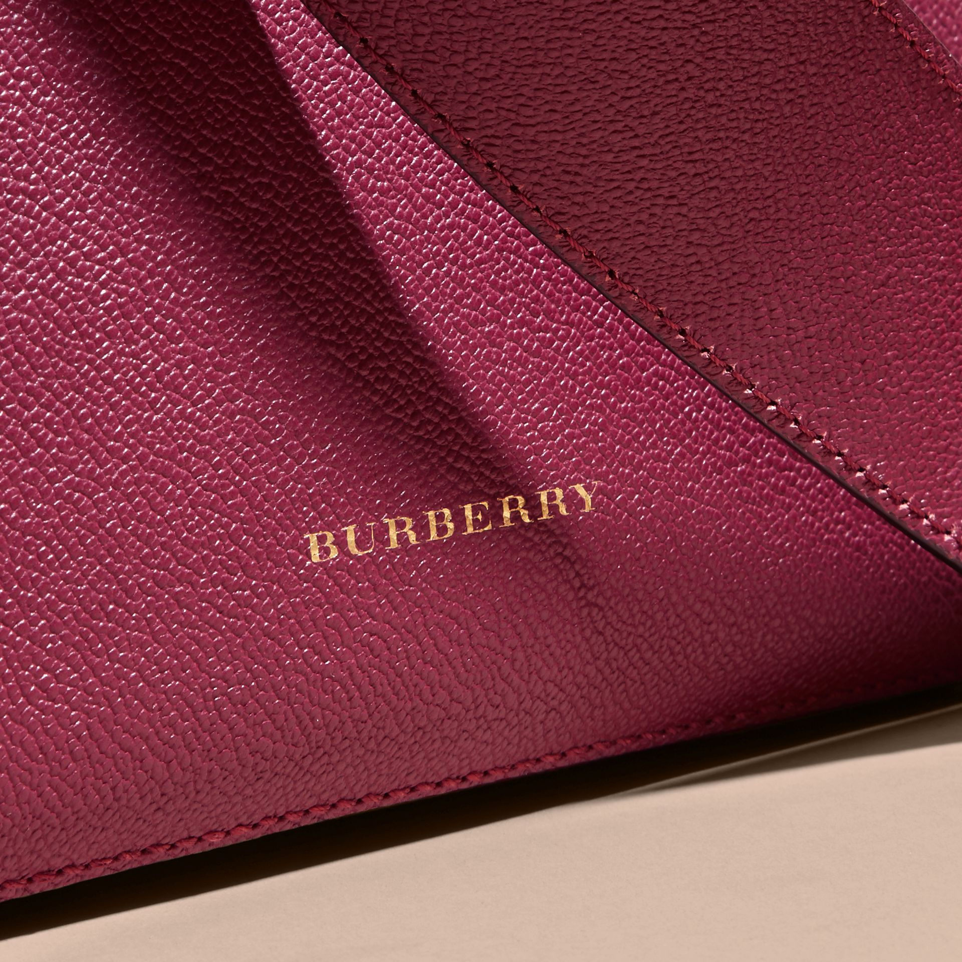 Buckle Detail Leather and House Check Crossbody Bag in Dark Plum - Women | Burberry - gallery image 6