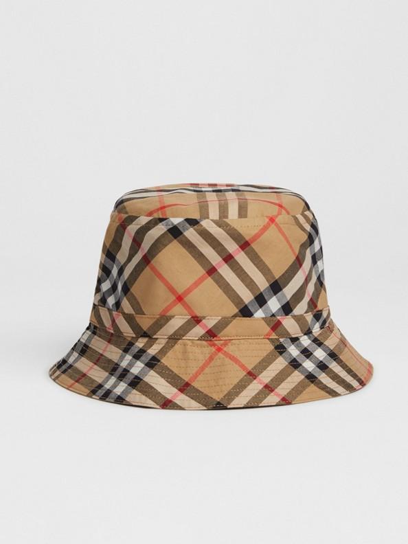 빈티지 체크 버킷 모자 (앤티크 옐로)