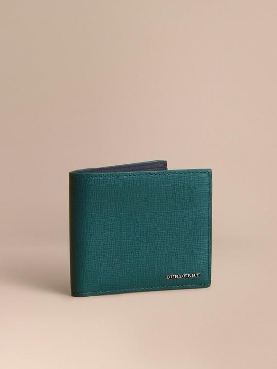 Faltbrieftasche aus London-Leder Dunkles Blaugrün