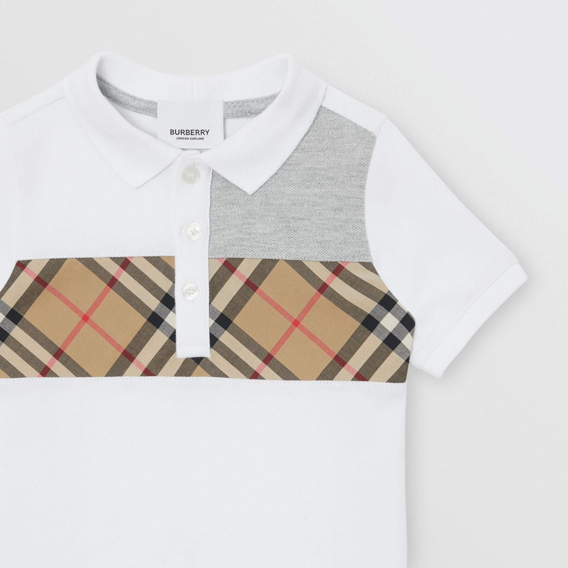 Vintage Check Panel Cotton Polo Shirt in White - Children | Burberry - gallery image 3
