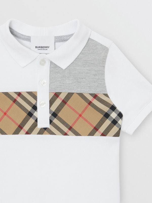Vintage Check Panel Cotton Polo Shirt in White - Children | Burberry Singapore - cell image 3